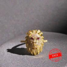 Anillo de plata de primera ley con forma de León párr mujer de sortija de plata esterlina 925 oro amarillo animal de lujo