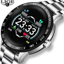 LIGE nouveaux hommes montre intelligente homme IP68 étanche sport pour iPhone smartband Message vibrer appel rappel smartwatch montre de santé