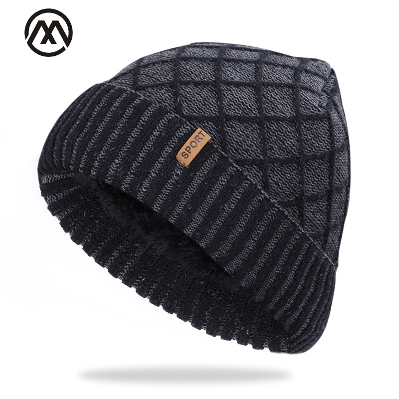 2019 Fashion Men's Skull Cap Winter Plaid Men And Women Label Cotton Cap Velvet Warm Quality Cotton Ski Warm Knitted Hat