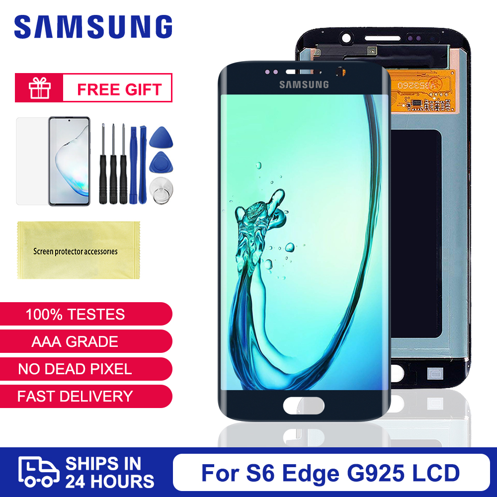 <font><b>Original</b></font> Super AMOLED LCD For <font><b>Samsung</b></font> Galaxy <font><b>S6</b></font> <font><b>edge</b></font> G925 G925I G925F LCD <font><b>Display</b></font> Touch Screen Digitizer With Frame For <font><b>S6</b></font> <font><b>edge</b></font> image