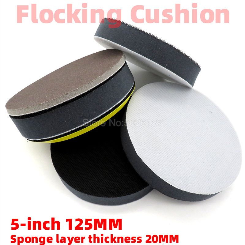 5-INCH 125MM Flocking Cushion 20MM Polishing Pad Soft Self-adhesive Disc Grinder Buffing Sandpaper Tray Sponge Waxing Protective