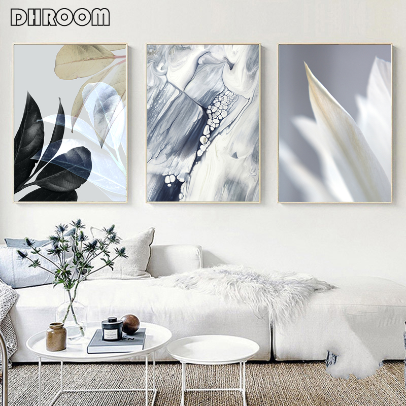 Серая Абстрактная живопись скандинавский мрамор плакат черный лист печать ботанический холст печать Настенная картина Декор для гостиной|Рисование и каллиграфия|   | АлиЭкспресс