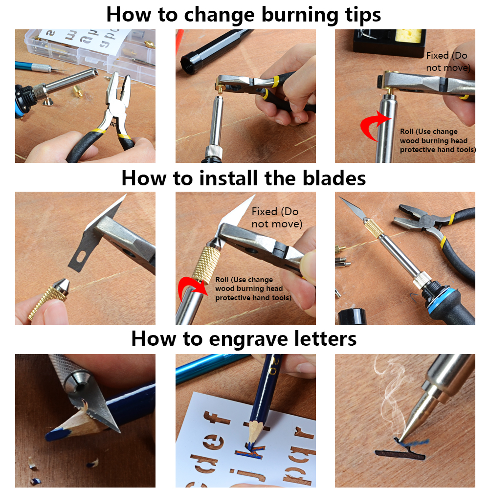 Image 5 - 220V / 110V 60W Adjustable Soldering Iron Kit Wood Burning Carving Pyrography Pen Set Welding Tips Wood Embossing Burning ToolsElectric Soldering Irons   - AliExpress