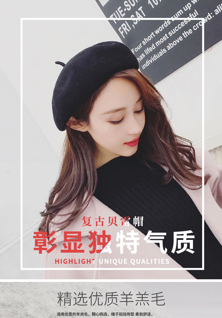 Autumn and winter women's beret casual wool warm hat