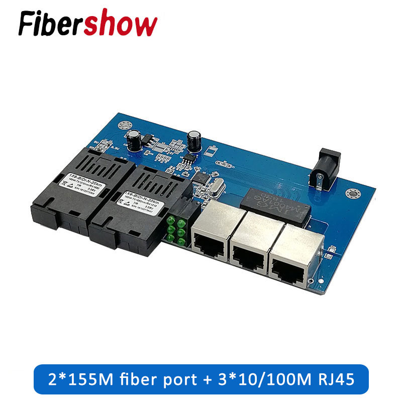 Fast Ethernet Fiber Optical Media Converter Single Mode 3 RJ45 And 2 SC Fiber 10/100M Port PCBA
