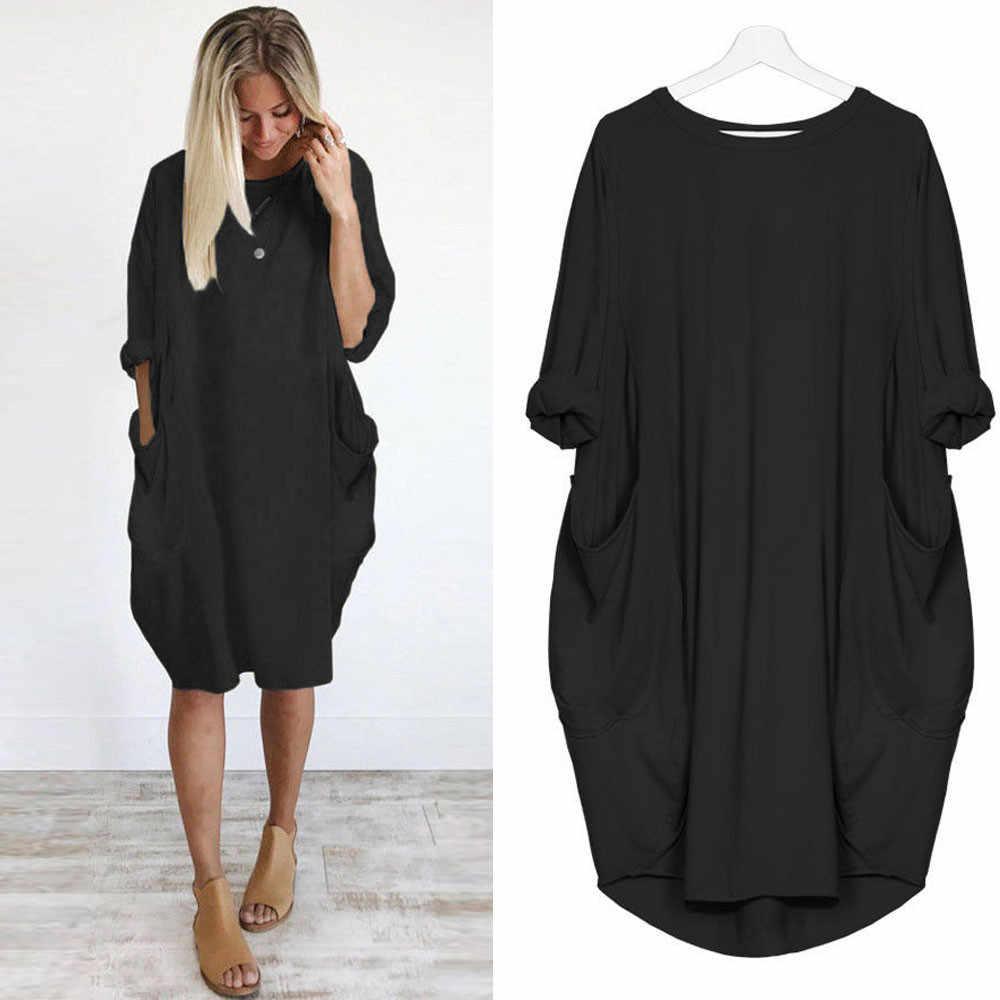 # Z45 bayan gevşek elbise bayanlar O boyun cep düz renk uzun kollu günlük elbiseler kadın üstleri artı boyutu elbise vestidos