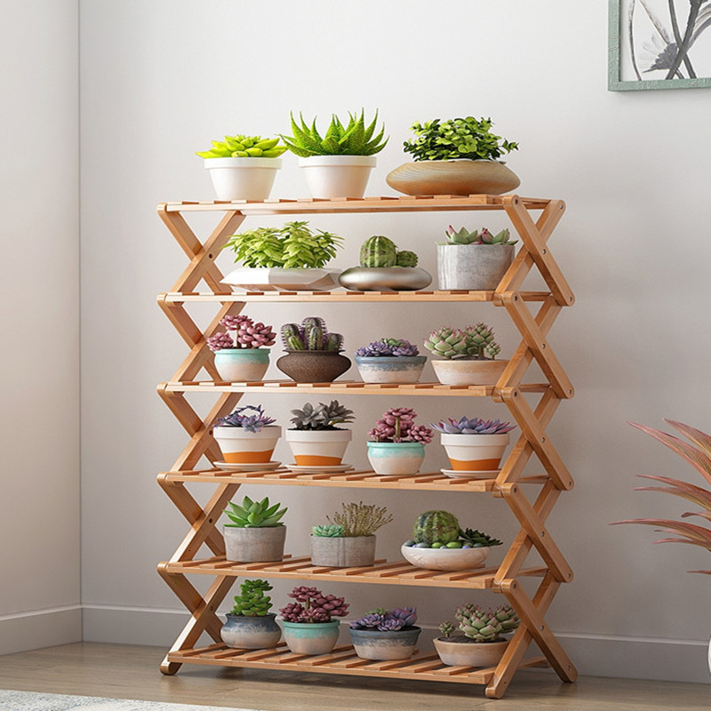 Rack Balcony Indoor Simplicity Multi-storey Small-scale Bamboo Flowerpot Shelves Exemption Install Bay Window Solid Wood Shelf