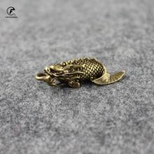 Ornament Car-Key-Chain Carp-Figurines Brass Dragon Acccessory Home-Decor Chinese Copper