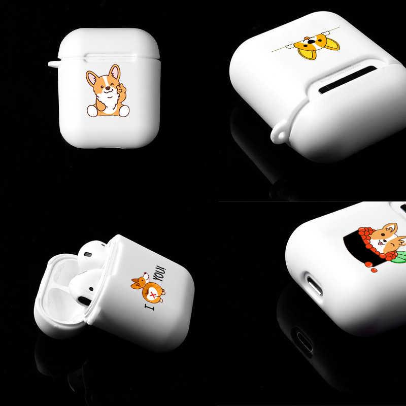Lanyard Soft สำหรับ Apple Airpods 1/2 กรณีสัตว์เลี้ยงน่ารัก Corgi สุนัขซิลิโคนหูฟังไร้สายบลูทูธป้องกันครอบคลุม