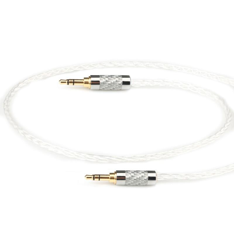 Câble Audio Aux 7N OCC 8 Croes argenté de 3.5mm à 3.5mm mâle à mâle pour casque de voiture