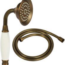 Rociador de lluvia de ducha de mano Vintage, cabezal de ducha de cerámica de latón en forma de teléfono con manguera de 59 pulgadas para baño (bronce Retro)
