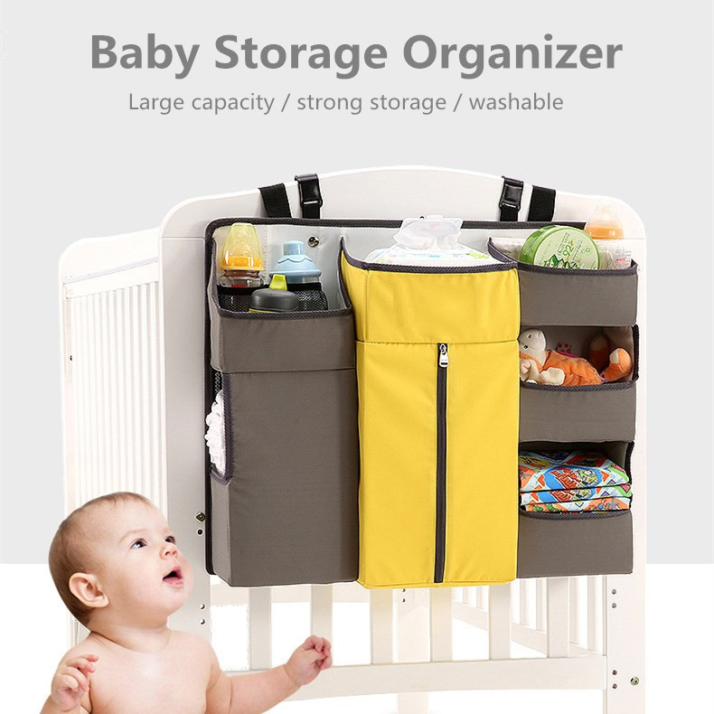 High Capacity Baby Crib Bed Hanging  Bag Portable Waterproof Diapers Bedside Zipper Organizer Diaper Storage Cradle Bag Bedding