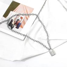 Vintage Lover's Lock Pendant Choker Necklace Steampunk Clavicle Golden Chain Necklace Collier Valentine's Day Gift 2019 faux leather lock pendant choker necklace