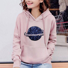 Hoodie With Pockets Women's Long Sleeves Planet Print Sequins Pink Gray Black Pullover Hooded Sweatshirt Girl Daily Tops Blusas light grey black pullover lantern sleeves sweatshirt