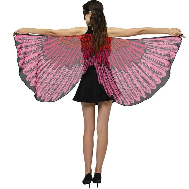 poncho women polyester Women Chiffon Wings Shawl Ladies Cloak Cape Costume Accessory