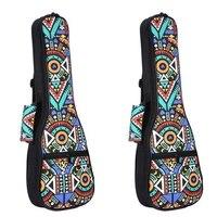 2Pcs Double Strap Hand Folk Ukulele Carry Bag Cotton Padded Case for Ukulele Guitar Parts Accessories,Blue Graffiti, 26 Inch & 2