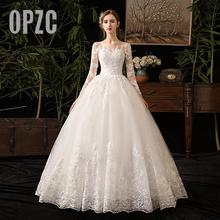 New Autumn Luxury Lace Embroidery Long Sleeve Wedding Dresses Sweetheart Elegant Plus size Vestido De Noiva Bride Gown floor D50