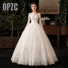 New Outono de Luxo Bordados Rendas Manga Longa Vestidos de Casamento Do Querido Elegante Plus Size Vestido De Noiva Vestido de noiva chão D50