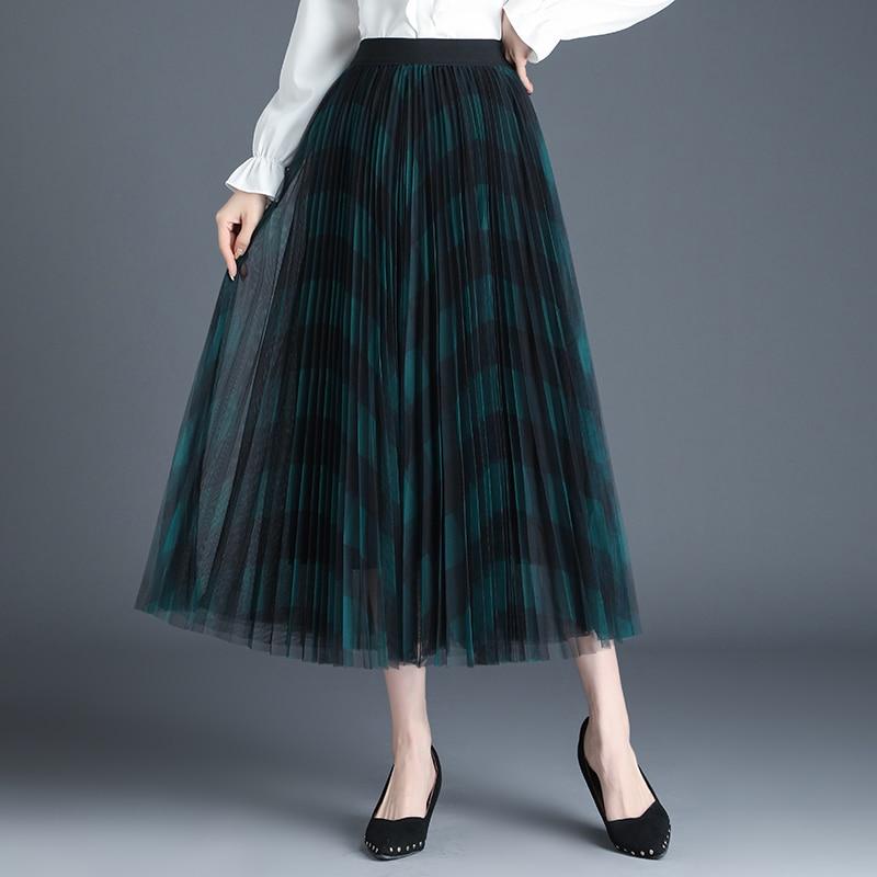 Women Vintage Classic Grid Pattern Plaid High Waist A-Line Skirt Fashion High Waist Pleated Midi Skirts