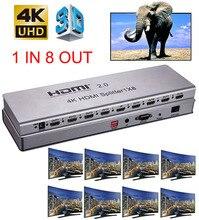 4K 1x8 HDMI 2.0 분배기 1 2 4 6 8 출력 1x2 1x4 HDMI 분배기 비디오 변환기 4K 60HZ 3D EDID RS232 for PS4 PC DVD To TV