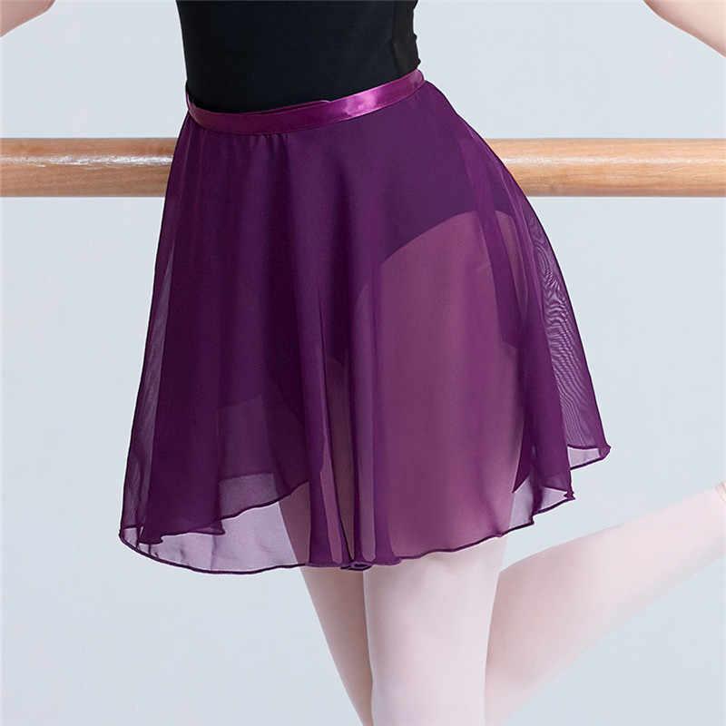 ผู้ใหญ่ชีฟองบัลเล่ต์เต้นรำกระโปรง Tutu ผู้หญิงสาวยิมนาสติก Wrap กระโปรงการฝึกอบรมบัลเล่ต์กระโปรง