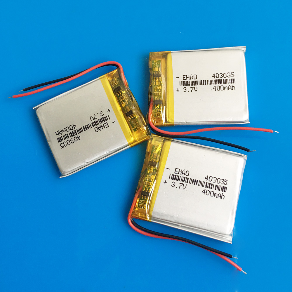 3 pcs <font><b>3.7V</b></font> 400mAh <font><b>403035</b></font> Rechargeable battery li polymer lithium batteries for MP3 GPS DVD bluetooth recorder e-book camera image