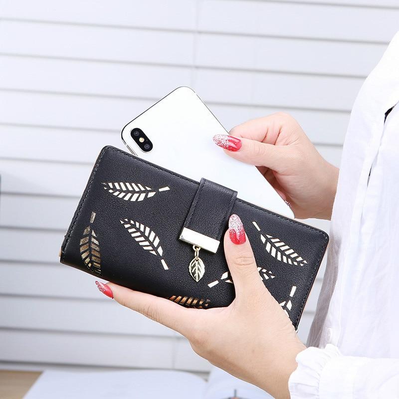 Women Wallet Purse Female Long Wallet Gold Hollow Leaves Pouch Handbag For Women Coin Purse Card Holders Cartera Mujer
