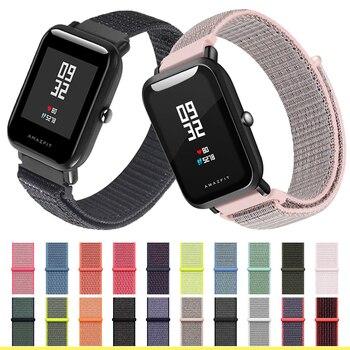 цена nylon strap 20mm 22MM for Amazfit Bip Smart Wrist strap nylon loop weaving watch for Amazfit Bip Pace amazfit stratos amazfit GTR 42mm 47mm Watchband Brecelet онлайн в 2017 году