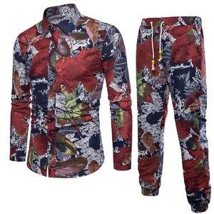 Image 5 - Hommes vacances ensemble lin longue pantalon Style ethnique Patchwork costume masculin Festival porter grande taille 5XL Europe chemise mince automne nouveau
