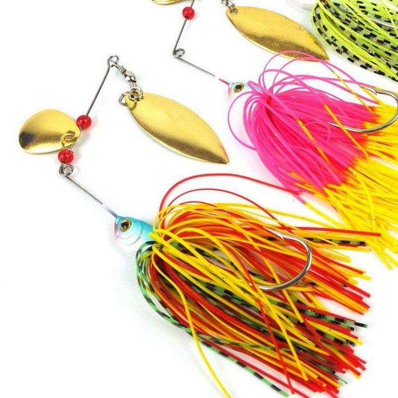 Купить с кэшбэком Spinner bait Metal Sequins Lures Silicone Skirt Jig Fishing Lure Wobbler Spinner Beard Tackle