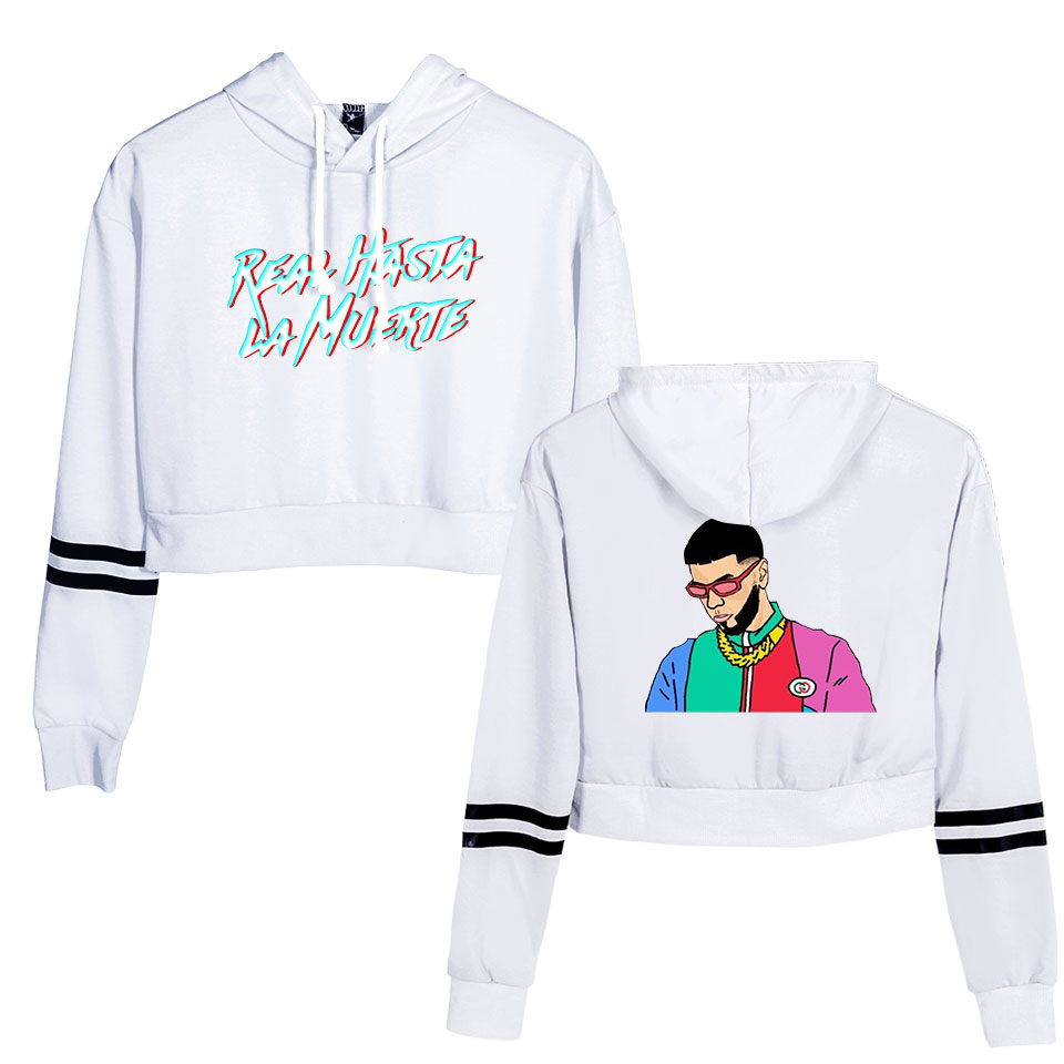 Anuel AA Fashion Crop Hoodies Sweatshirts Casual Womens Long Sleeve Cut-out Sweatshirt Pullover Cute Printing Blouse  Para Mujer