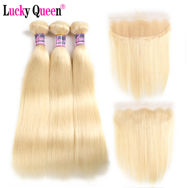 $ US $73.61 Brazilian 613 Blonde Color Straight Hair 3 Bundles With 13*4 Frontal Remy Hair 100% 613 Human Hair Bundles Lucky Queen Hair