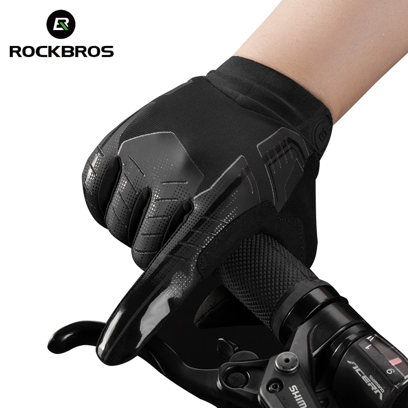 ROCKBROS Cycling Bike Gloves Touch Screen Windproof Long Gloves Bicycle Warm Full Finger Autumn Winter Motorcycle Bike Gloves