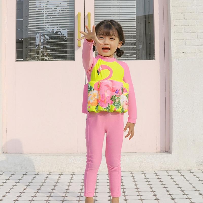 2019 New Style Hot Sales One-piece Buoyancy Bathing Suit Cartoon Flamingo Long Sleeve Trousers Send Swimming Cap Girls KID'S Swi