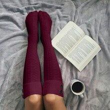 Женские вязаные длинные сапоги выше колена, теплые осенне-зимние модные женские хлопковые чулки