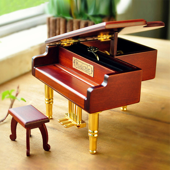 Grand Wood Piano Box Round DIY Hand-cranked Music Box Wooden musicbox hand crank music box birthday gift for friend 2020 II50YYH