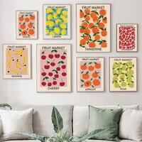 Fruit Market-pósteres e impresiones Vintage de cereza, limón, pera, plátano, naranja, cuadro sobre lienzo para pared, imágenes para Decoración de cocina