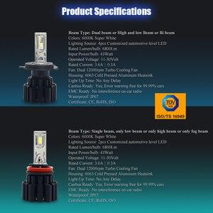 Image 5 - CNSUNNYLIGHT супер яркий светодиодный головной фонарь, H7 H11/H8 9005/HB3 9006/HB4 9012 D1/D2/D3/D4 H4 H13 45 Вт 6800Lm/Лампа 6000K чистый белый