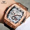 ONOLA top di lusso di marca della vigilanza del quarzo uomo lumious tonneau piazza grande orologio da polso di stile di modo casuale orologio maschile relogio masculino