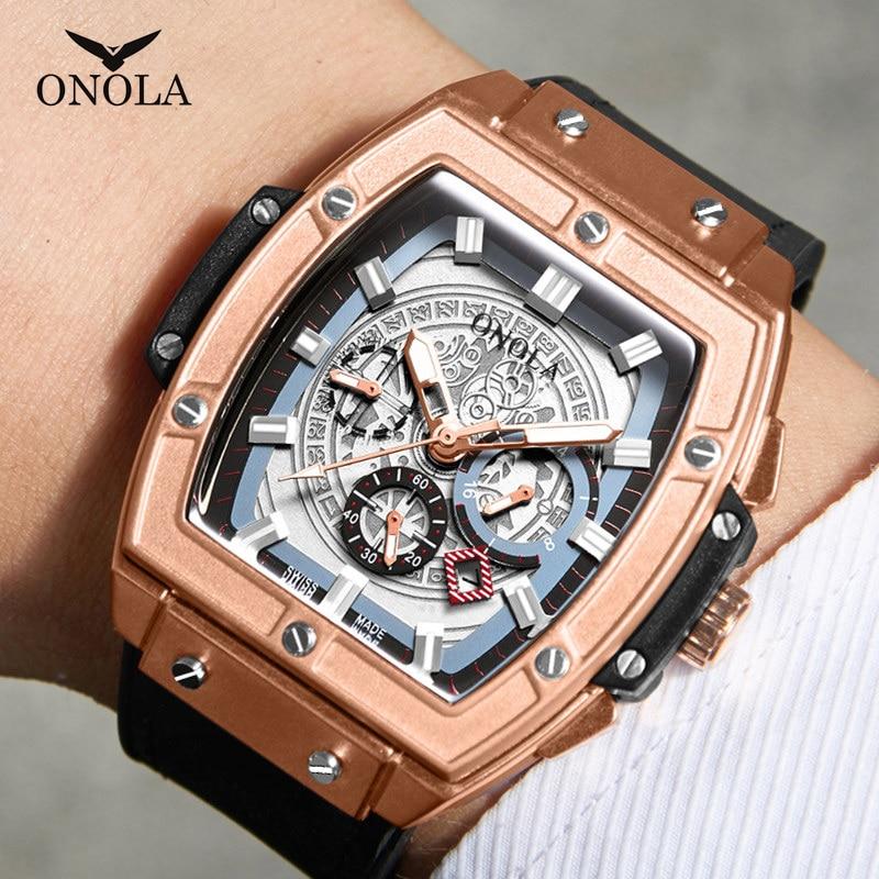ONOLA Top Luxury Brand Quartz Watch Man Lumious Tonneau Square Big Wristwatch Fashion Casual Style Male Watch Relogio Masculino