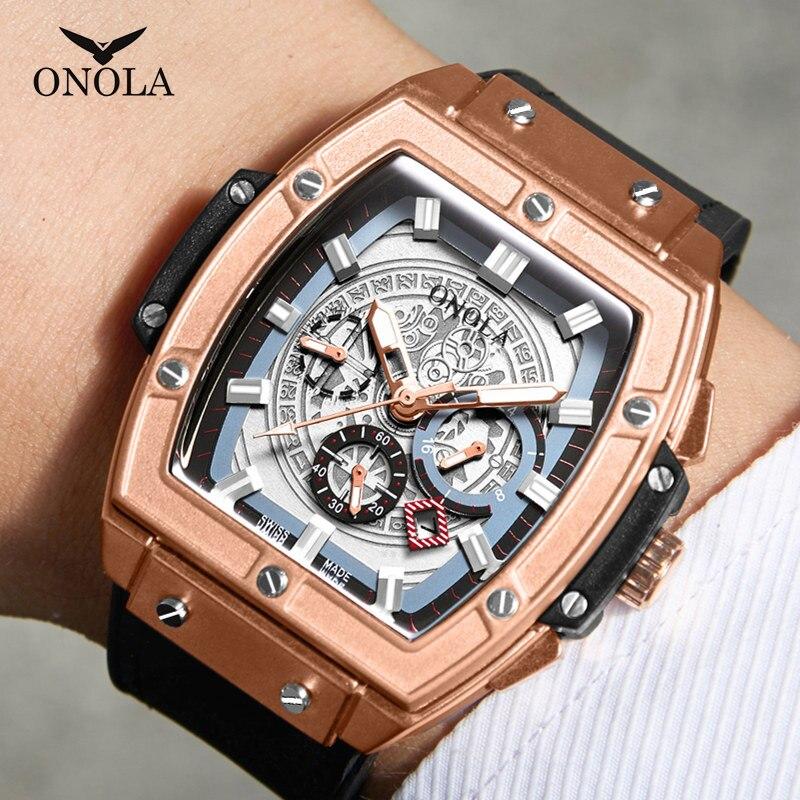 Marca de Luxo Relógio de Pulso Onola Topo Relógio Quartzo Homem Lumious Tonneau Quadrado Grande Moda Casual Estilo Masculino