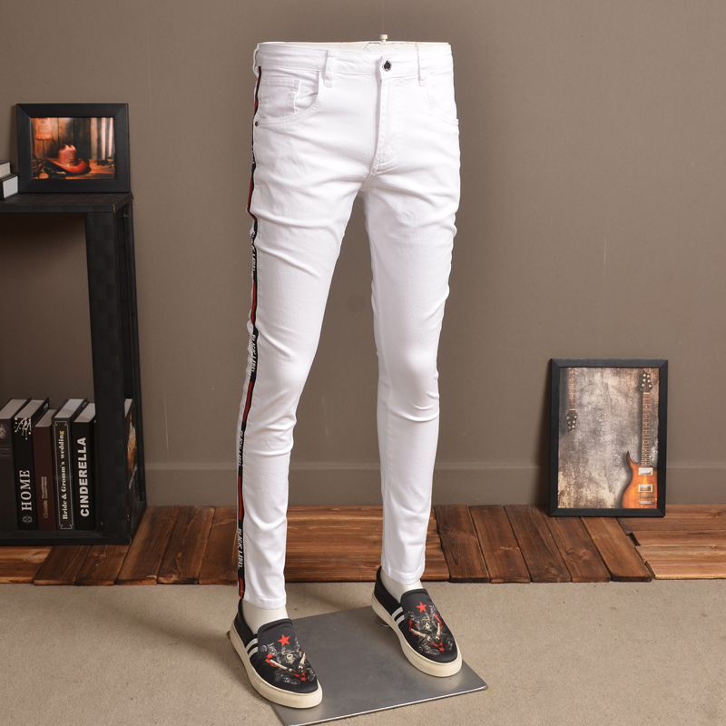 Fashion Mens Skinny Jeans Elastic White Streetwear Side Stripe Jean Pants For Cowboys Men P85