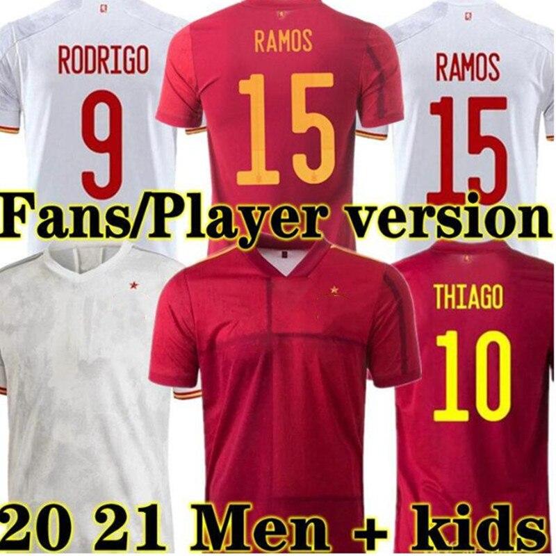Вентилятор и плеер той же версии, Футбольная Футболка 20 21 ESPANA человек XANI высокого качества комплекты Майки Детские A. Иньеста костюм