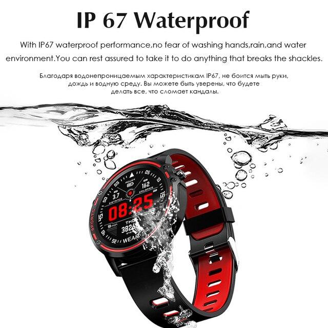 Kan basıncı fonksiyonları Smartwatch IP67 su geçirmez spor akıllı izle IOS Android için kablosuz Bluetooth erkekler kadın bez