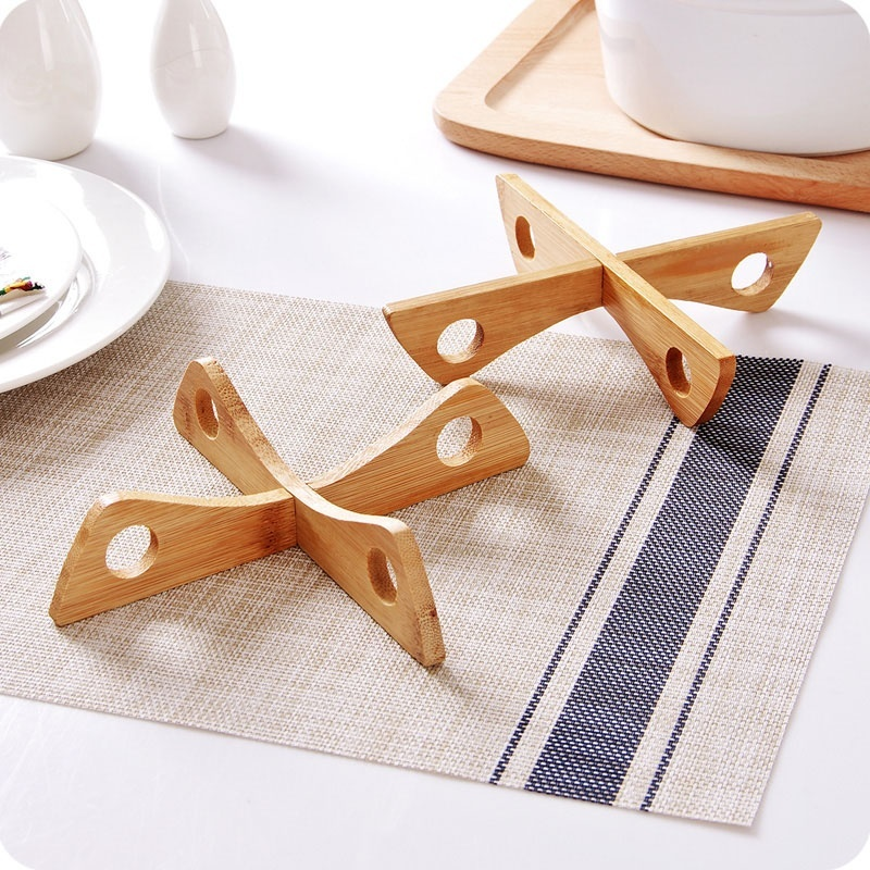 Tray Rack Wood Pot /Spoon Rests Heat Insulation Wooden Pads Pot Holder Cteative Cooking Storage Kitchen Accessories