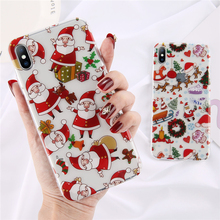 OTTWN Merry Christmas Santa Claus Mobile Phone Cases Cover For Iphone X XR XS MAX 7 8 7Plus 6 6S Plus Deer Back