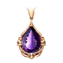18k Rose Gold Natural Amethyst Pendant For Women 925 Sterling Silver Necklace Purple Gemstones Fine Jewelry Anniversary Gifts(China)