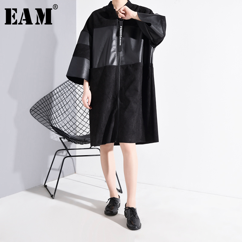 [EAM] Loose Fit Pu Leather Stitch Big Size Jacket New Stand Collar Three-quarter Sleeve Women Coat Fashion Spring 2020 JC25301