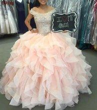 Женское вечернее платье с блестками off the shouder розовое