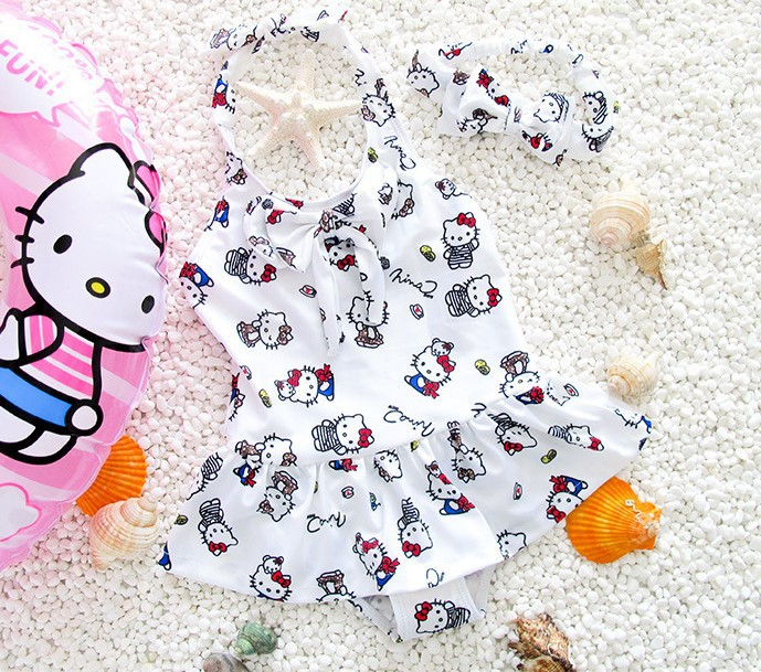 Ollie Celebrity Style Bathing Suit CHILDREN'S Swimsuit Dancing Dress Cute Girls Baby Dress-Bathing Suit Send Hair Band